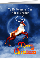 Flying reindeer Christmas card for son and family card