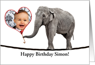 Tightrope elephant birthday photo card