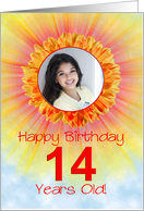 14th birthday sunshine flower photo card