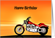 Motorbike in the sunset card birthday card