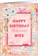 Wife, Flowers and butterflies craft look birthday card