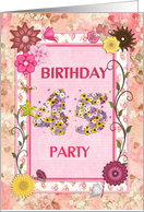 45th birthday party, Flowers and butterflies craft card