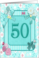 50th birthday invitation Flowers and butterflies craft-look card