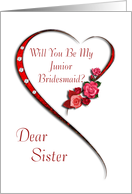 Sister, Swirling heart Junior Bridesmaid invitation card
