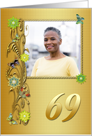 Golden Garden 69th birthday card with photo card