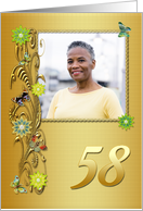 Golden Garden 58th birthday card with photo card
