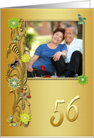Golden Garden 56th birthday card with photo card