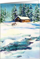 Winter Log Cabin & Horse. Missing You card
