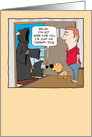 Grim Reaper's Therapy Dog Funny Birthday card