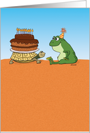 Funny Turtle and Frog Birthday card