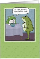 Funny birthday card: Unhappy frog card