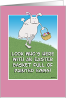 Funny Easter card: Bunny With Eggs card