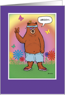 Funny birthday card: Hippie Bear Day card