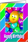 Birthday Card With Colorful Happy Face Ballons card