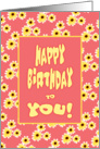Birthday Card With Daisies Design/Birthday To You card
