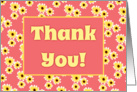 Thank You Card With Cute Yellow Daisies Design card