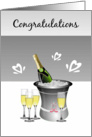 Congratulations/Bride and Groom/Champagne/Hearts card
