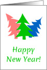 Happy New Year Card With Colorful Trees card