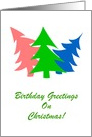 Happy Birthday On Christmas/Card With Colorful Trees/Custom card