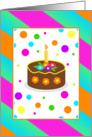 Recovery One Year Birthday/Colorful Dots Strips and Cake card