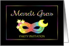 Mardi Gras Mask Custom Invitation With Pastel Colors card