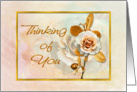 Thinking of You Rose Card With Embellished Golden 'Look' card