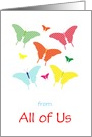 Pretty Birthday Card With Butterflys/From All Of Us/Custom card