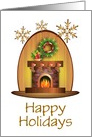 Happy Holidays Card with Stockings on Fireplace/Custom card