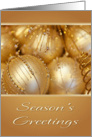 Season's Greetings Golden Ornaments Christmas Card