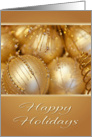 Happy Holidays Golden Ornaments Christmas Card