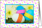 Happy Easter/Eggs With Ribbons and Dahlia Flowers card