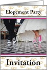 Elopement Party Invitation With Bride and Groom in Gym Shoes-Custom card