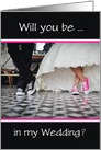 Bridal Invitation-Bride and Groom in Gym Shoes-Will You Be-Custom card