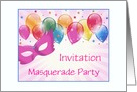Masquerade Party Invitation-Pink Mask-Pretty Balloons-Custom card