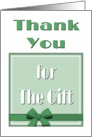 Thank You For The Gift-Green Gift Box With Bow card