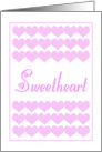 Pink Valentine Hearts For Your Sweetheart card