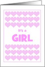 It's A Girl-Birth Announcement With Pink Hearts-Custom card