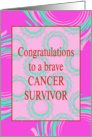 Cancer Remission Congratulations With Pink and Blue Swirls card