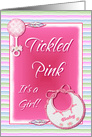 Baby Birth Announcement Tickled Pink Its A Girl With Feathers card