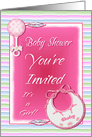 Shower Invitation Baby Girl Bib And Rattle card