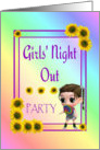 Girls' Night Out-Invitation-Red Hat-Girl-Sunflowers-Pastel Colors, card