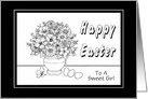 Happy Easter-For Girls-Coloring Book-Flowers card