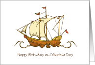 Birthday on Columbus Day/Spanish Galleon card