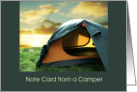 Camping Tent with Sunset/Camp Notes/Thinking of you card