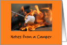 Roasting Marshmallow on Campfire/Camp Notes card