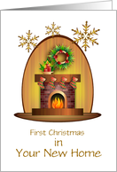 First Christmas/New Home with Stockings on Fireplace/Custom card