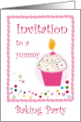 Baking Party Invitation With Yummy Cupcake card