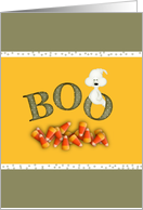 Halloween Party Invitation-BOO-Ghost-Candy Corn card