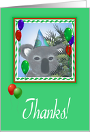 Thanks For Coming-Koala-Balloons, card