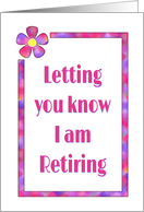 Retirement Announcement With 60s Pink and Purple Flower Design card